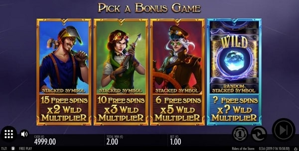 riders of the storm free spins bonus options