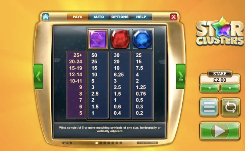 star clusters slot symbols pay table