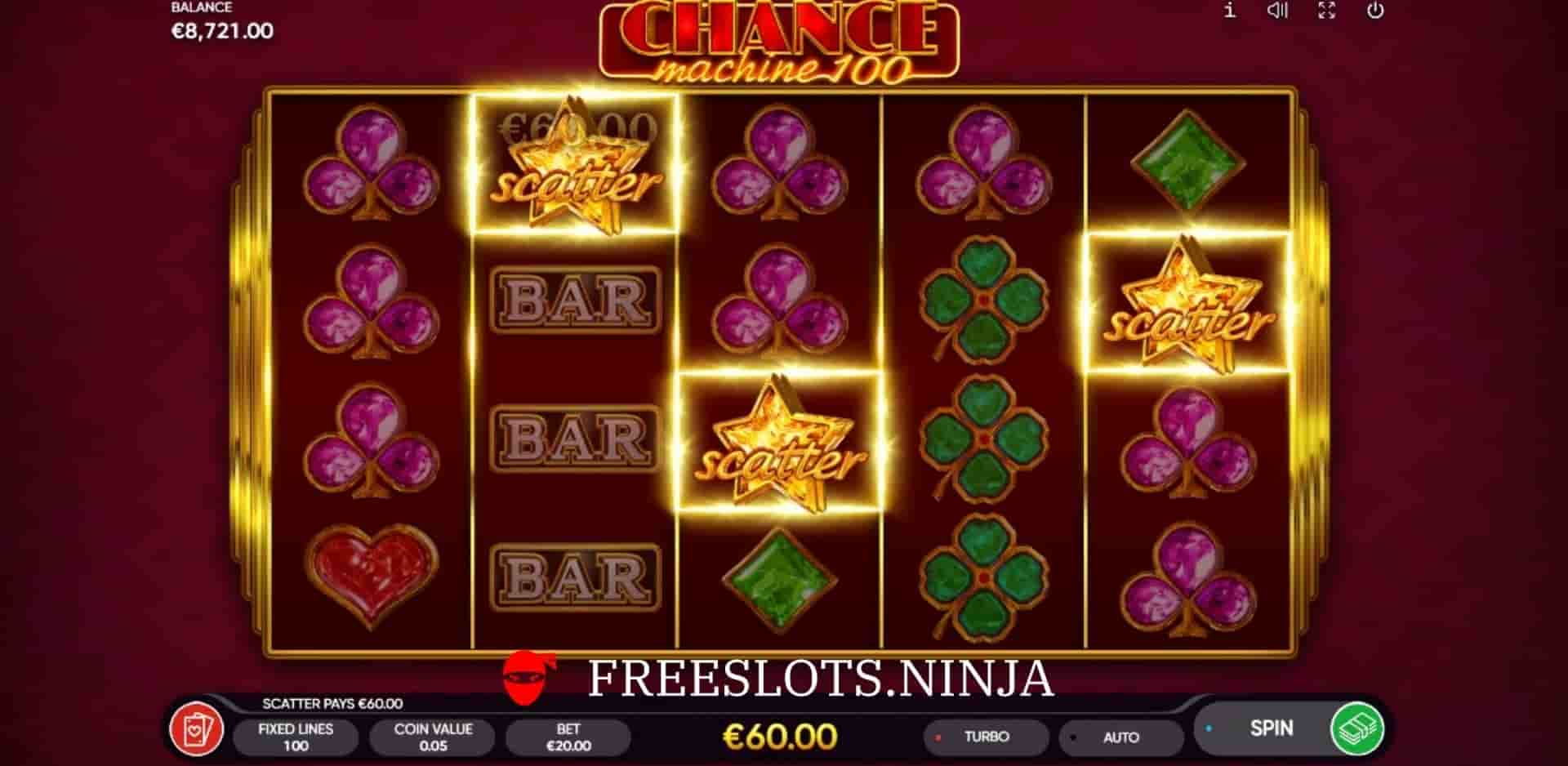 chance machine 100 slot scatters
